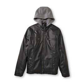 Route 66 Men's Hooded Faux Leather Moto Jacket at Kmart.com