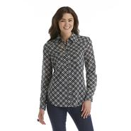 True Freedom Junior's Sheer Long-Sleeve Blouse - Plaid at Sears.com