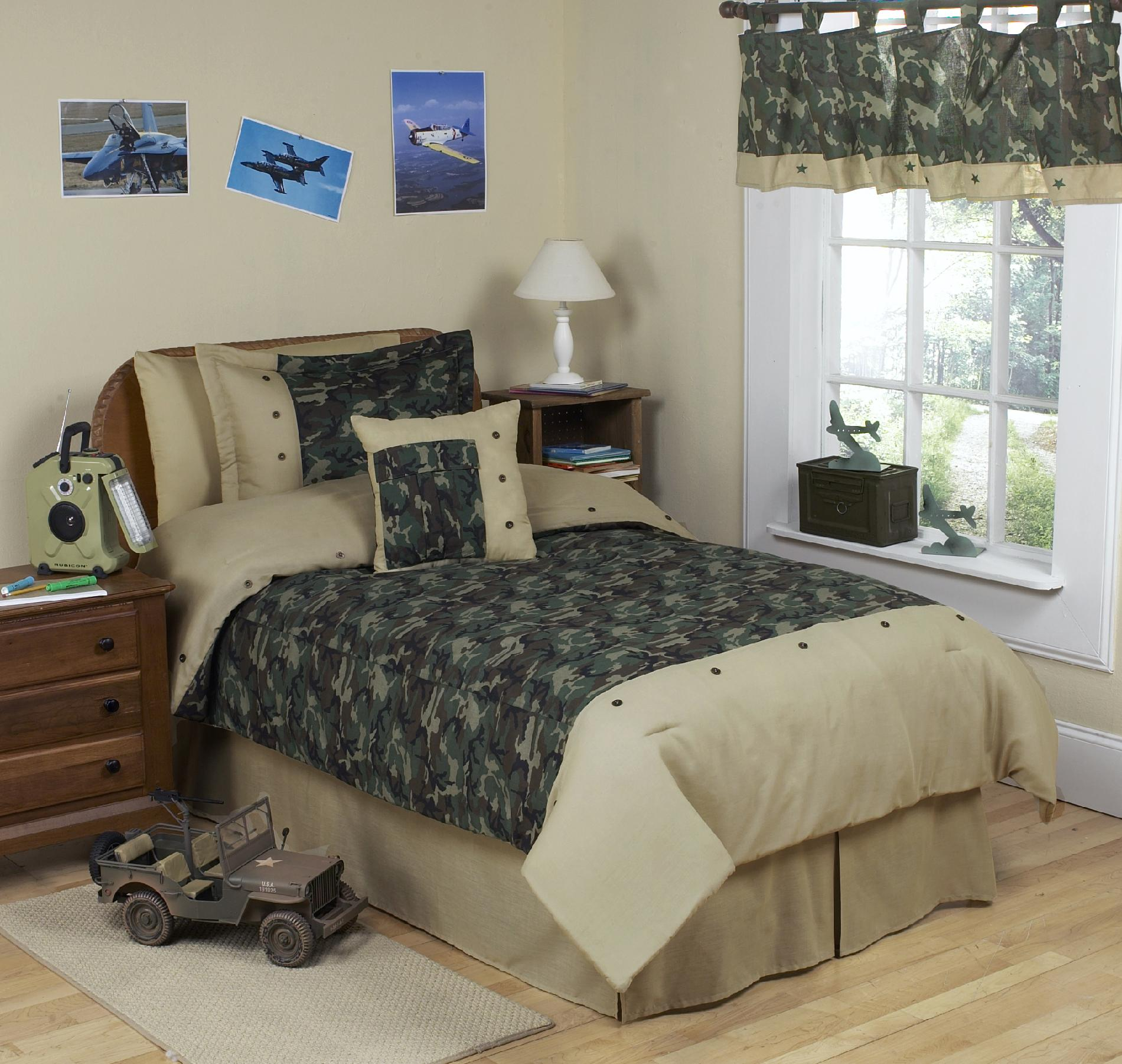Sweet Jojo Designs Camo Green Collection 3pc Full/Queen Bedding Set