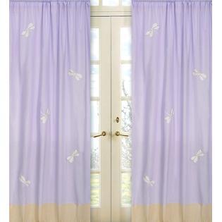 Sweet Jojo Designs Purple Dragonfly Dreams Collection Window Panels