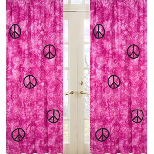 Sweet Jojo Designs Peace Pink Collection Window Panels