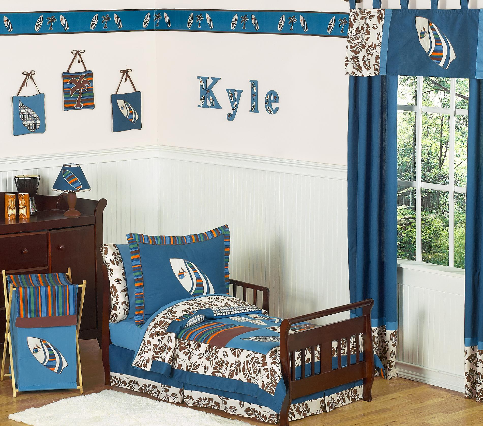 Sweet Jojo Designs Surf Blue Collection 5pc Toddler Bedding Set