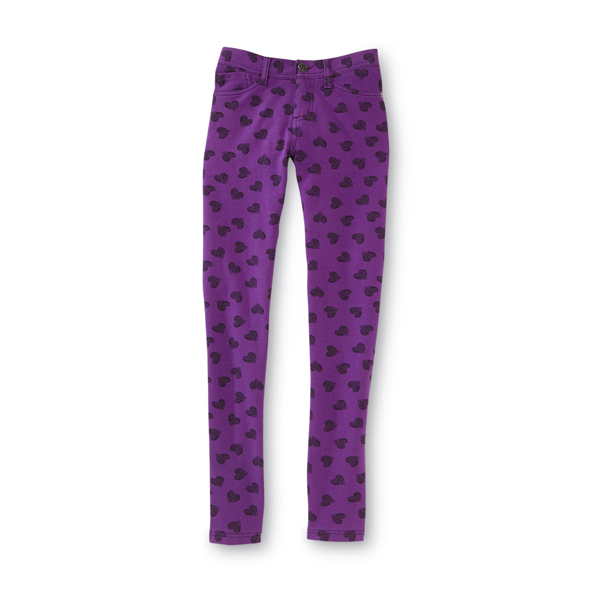 Girl's Patterned Jeggings - Hearts