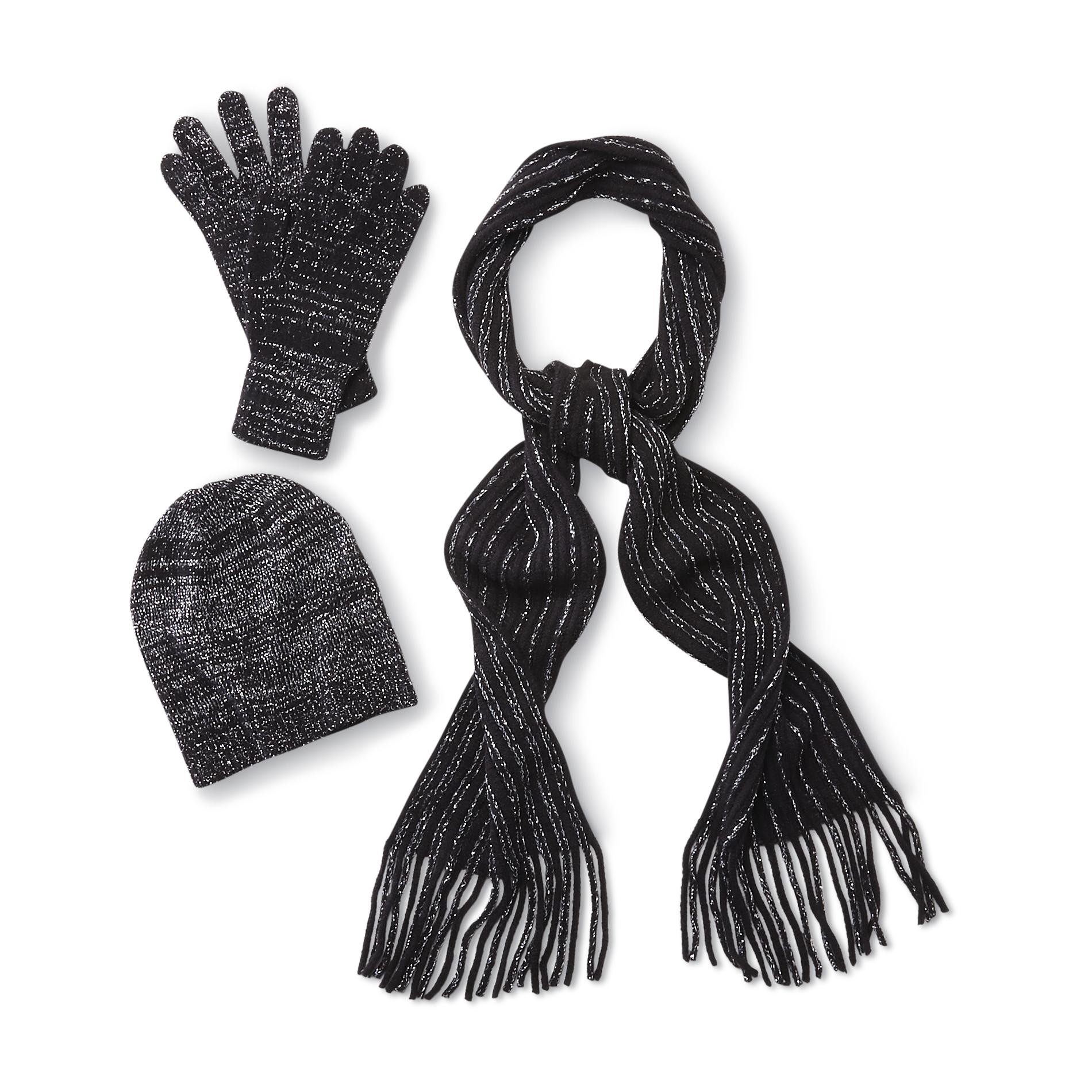 Women's Beanie Hat, Gloves & Scarf - Metallic