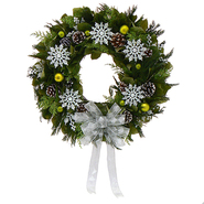 The Christmas Tree Company 22 In. Snowflakes and Green Dried Floral Wreath at Kmart.com