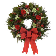 The Christmas Tree Company 18 In. Yuletide Roses Dried Floral Wreath at Kmart.com