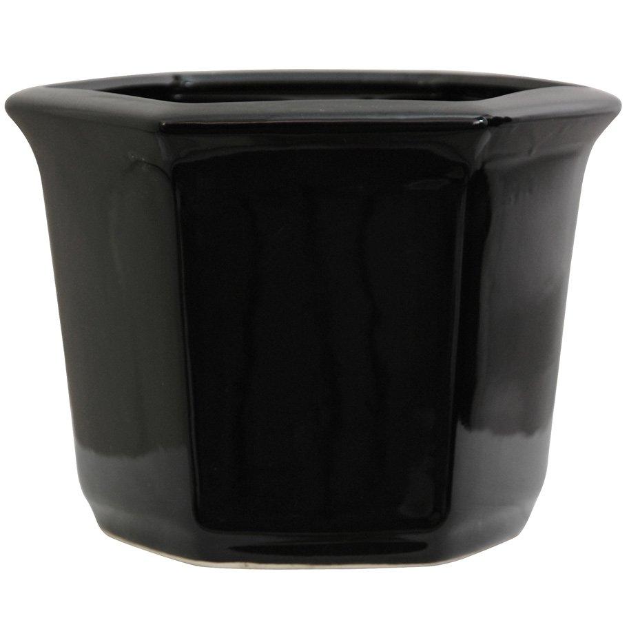 """Oriental Furniture 10"""" Solid Black Porcelain Flower Pot PartNumber: 02434691000P KsnValue: 02434691000 MfgPartNumber: BW-FLOWER-BLK"""