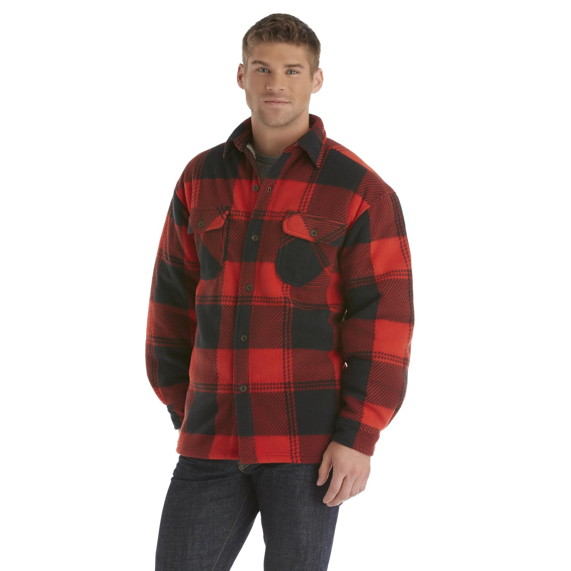 Men's Fleece Shirt Jacket - Large Plaid