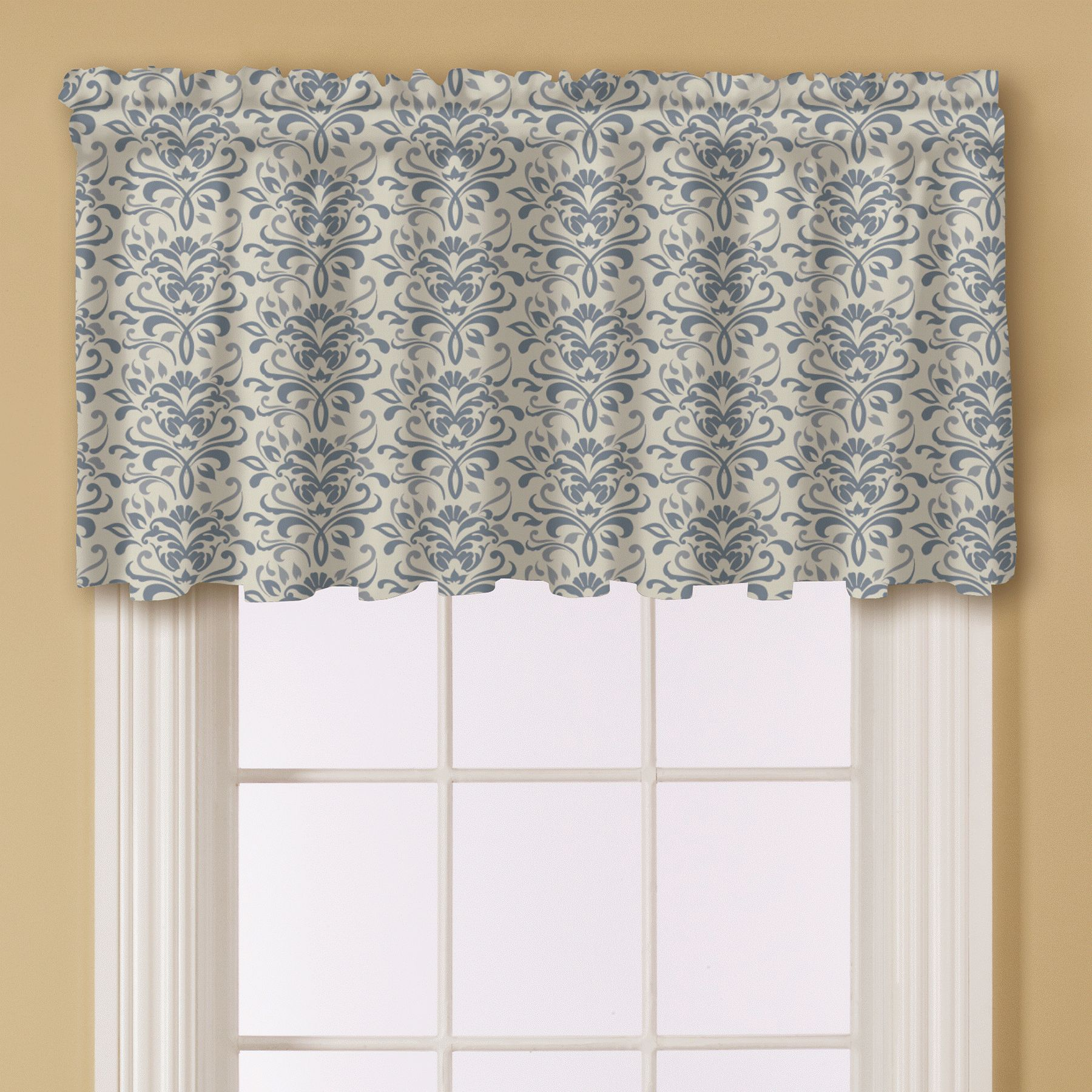 essential home print window valance blue - Valances