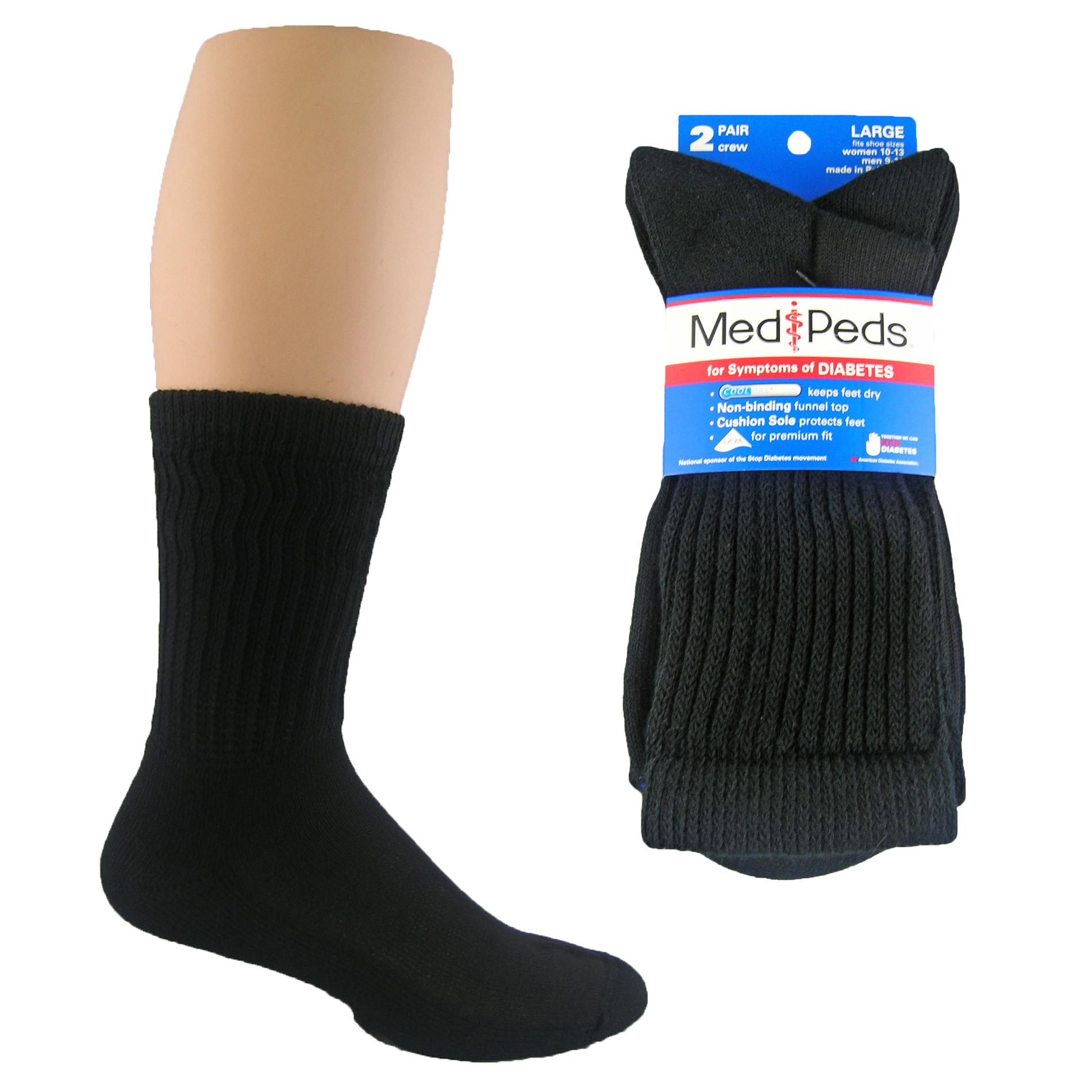 MediPeds Diabetic Crew Sock- 2 Pr