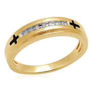Eternal Treasures Diamond Accent Gold Over Silver Enamel Cross Men's Band at Kmart.com