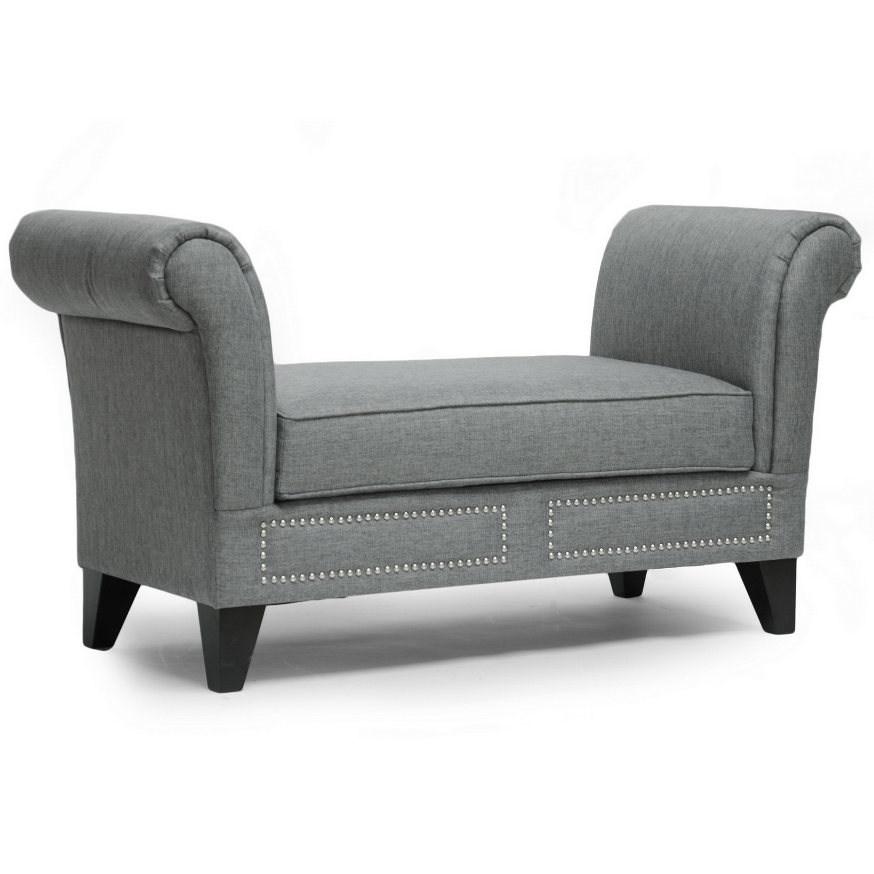 Baxton  Marsha Gray Linen Modern Scroll