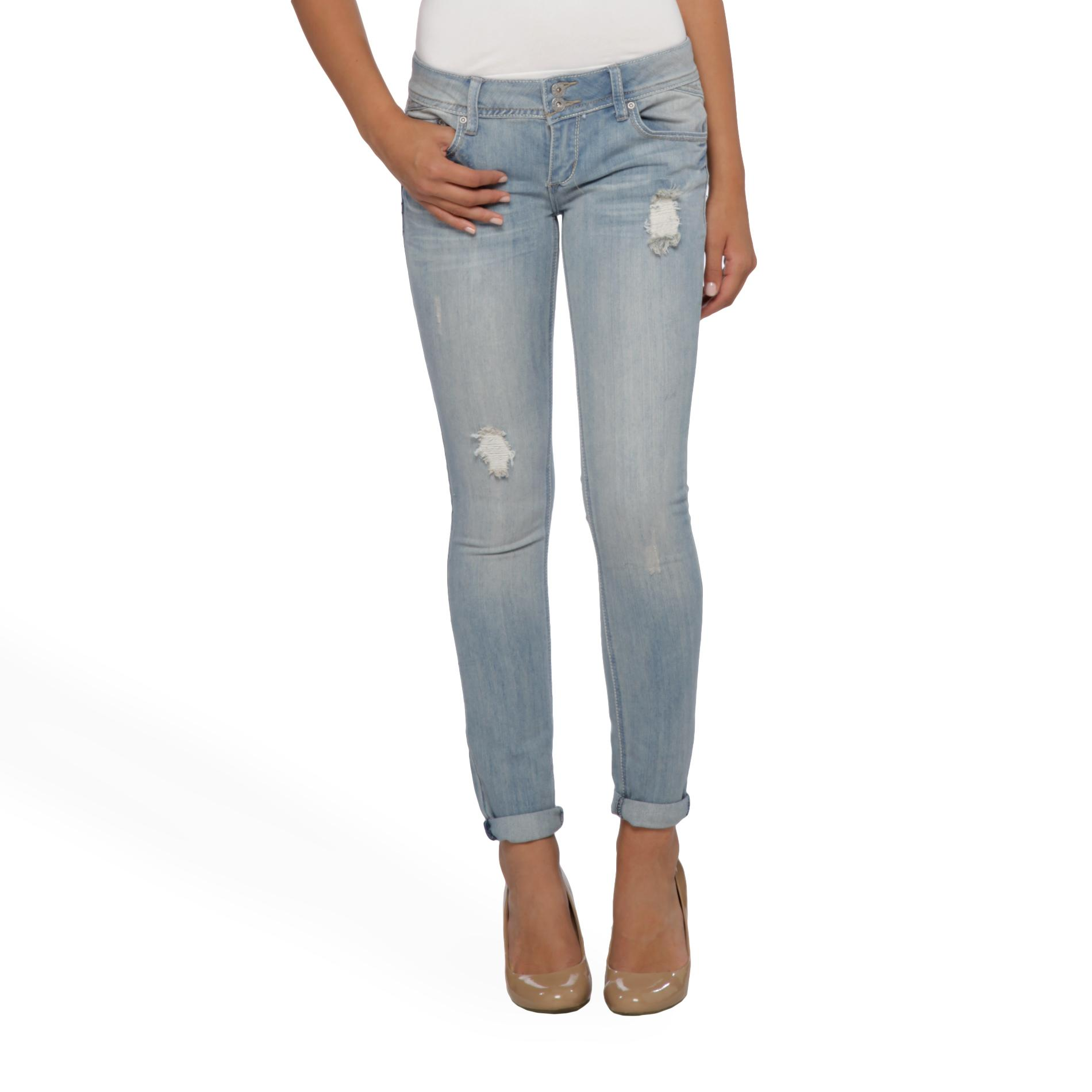 Junior's Distressed Skinny Jeans - Roll Cuff