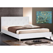 Baxton Barbara White Modern Bed with Crystal Button Tufting - Full Size at Kmart.com