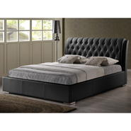Baxton Bianca Black Modern Bed with Tufted Headboard - Full Size at Kmart.com