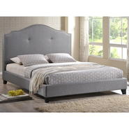 Baxton Marsha Scalloped Gray Linen Modern Bed with Upholstered Headboard - Queen Size at Kmart.com