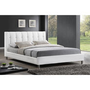 Baxton Vino White Modern Bed with Upholstered Headboard - Queen Size at Kmart.com