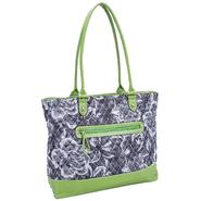 Parinda ALLIE 11161 Quilted Fabric with Croco Faux Leather Tote at Sears.com
