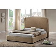 Baxton Sheila Tan Linen Modern Bed with Upholstered Headboard - Queen Size at Kmart.com