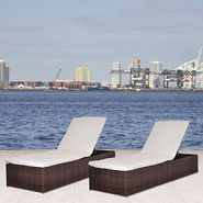 Atlantic Wellington Synthetic Wicker 2 Piece Patio Lounger Set With Off-White Cushions at Kmart.com