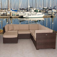 Atlantic Hampton Sunbrella 6 Piece Synthetic Wicker Brown Patio Sectional Set with Antique Beige Cushions at Kmart.com