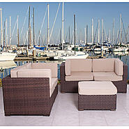 Atlantic Nassau 5 Piece Brown Synthetic Wicker Patio Seating Set With Sunbrella Antique Beige Cushions at Kmart.com