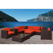Atlantic Barbados Brown Synthetic Wicker Sectional 9-pc Set with Orange Cushions at Kmart.com