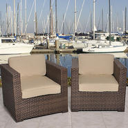 Atlantic Hampton 2 Piece Brown Synthetic Wicker Patio Armchair Set With Sunbrella Antique Beige Cushions at Kmart.com