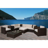 Atlantic Barbados Brown Synthetic Wicker Sectional 9-pc Set with Off-White Cushions at Kmart.com