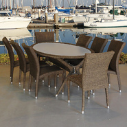 Atlantic Jamaica 9 Piece Distressed Grey Synthetic Wicker Oval Patio Dining Set at Kmart.com