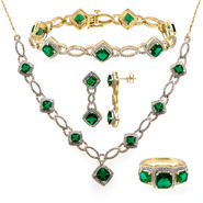 Gold Over Brass Simulated Emerald Topaz 4pc Set at Sears.com