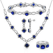 Silver Rhodium Over Brass Lab Created Sapphire 4pc Set at Sears.com