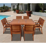 Amazonia Jamaica 9 Piece Eucalyptus Wood Square Patio Dining Set at Kmart.com