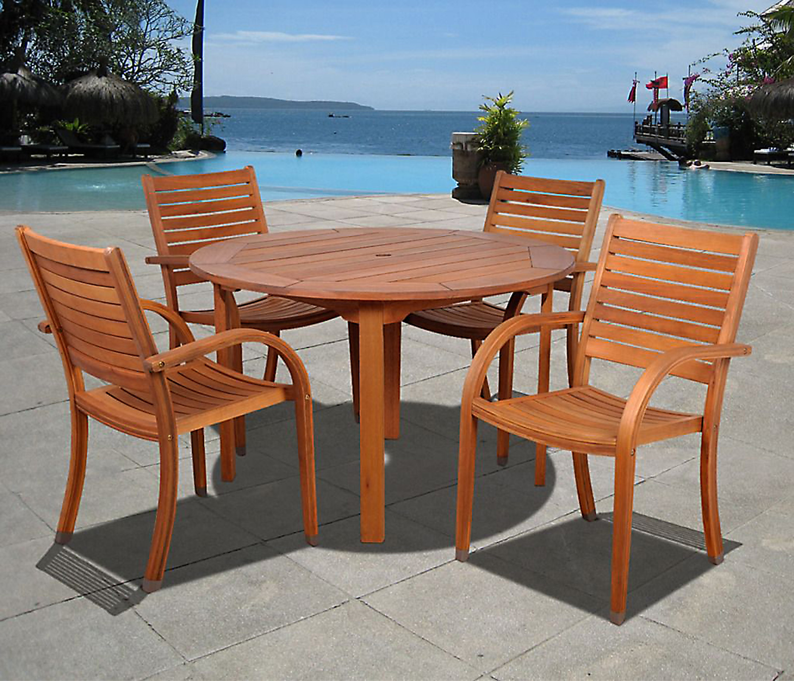 Jamaica 5 Piece Eucalyptus Wood Round Patio