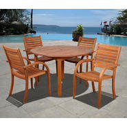 Amazonia Jamaica 5 Piece Eucalyptus Wood Round Patio Dining Set at Kmart.com