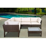 Atlantic St. Croix 6 pc Brown Synthetic Wicker Patio Seating Set with Off-White Cushions at Kmart.com