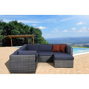 Atlantic Hampton 6 Pc Grey Synthetic Wicker Patio Sectional Set with Grey Cushions at Kmart.com