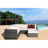 Atlantic Hampton 6 pc Grey Synthetic Wicker Patio Seating Set with Off-White Cushions at Kmart.com