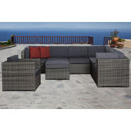 Atlantic Bermuda 8 Piece Synthetic Wicker Patio Seating Set With Grey Cushions at Kmart.com