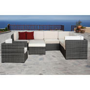 Atlantic Bermuda 8 Piece Grey Synthetic Wicker Patio Seating Set  With Off-White Cushions at Kmart.com