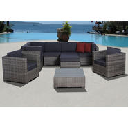 Atlantic Caribbean Grey Synthetic Wicker Sectional 9-pc Set with Grey Cushions at Kmart.com