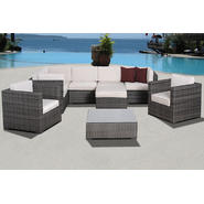 Atlantic Caribbean 9 pc Grey Synthetic Wicker Patio Seating Set with Off-White Cushions at Kmart.com