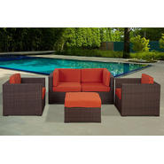 Chateaux 5 Piece Brown Synthetic Wicker Casual Patio Seating Set With Orange Cushions at Kmart.com