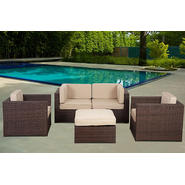 Atlantic Chateaux 5 Piece Brown Synthetic Wicker Patio Seating Set With Sunbrella Antique Beige Cushions at Kmart.com