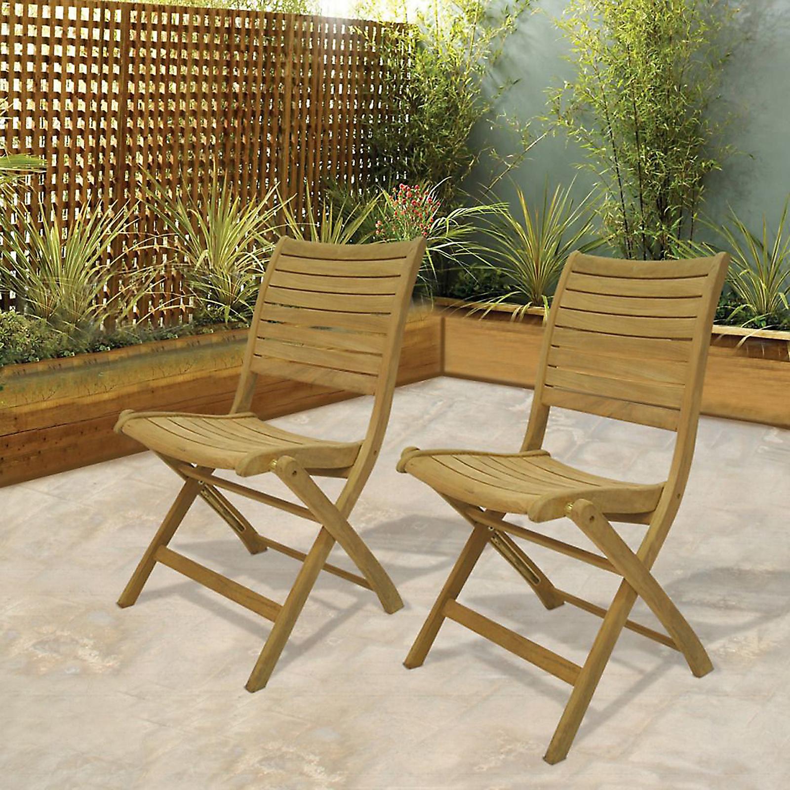 Amazonia Cabana 2 Piece Teak Wood Folding Patio Chair Set
