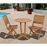 Amazonia Cabana 3 Piece Round Teak Wood Patio Bistro Set at Kmart.com