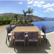 Amazonia Liberty 9 Piece Teak/Synthetic Wicker Square Patio Dining Set at Kmart.com
