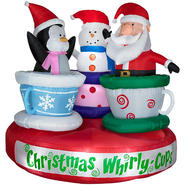 Gemmy Christmas Animated Airblown Tea Cup Ride with Santa - Snowman - Penquin at Kmart.com