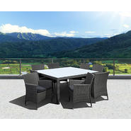 Atlantic Barbados Deluxe Square 9 Piece Wicker Dining Set Grey with Grey Cushions at Kmart.com