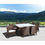 Atlantic Barbados Deluxe Square 9 Piece Synthetic Wicker Dining Set Brown with Off-White Cushions at Kmart.com